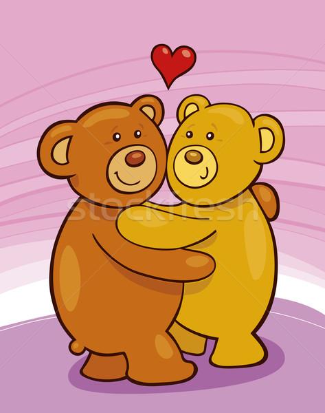 Ours en peluche amour cartoon deux coeur art Photo stock © izakowski