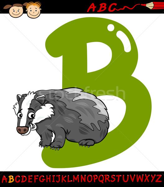 письме барсук Cartoon иллюстрация алфавит Сток-фото © izakowski