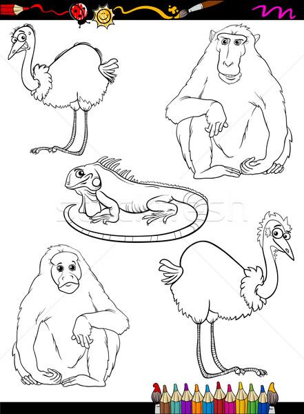 Vahsi Hayvanlar Karikatur Boyama Kitabi Sayfa Ornek