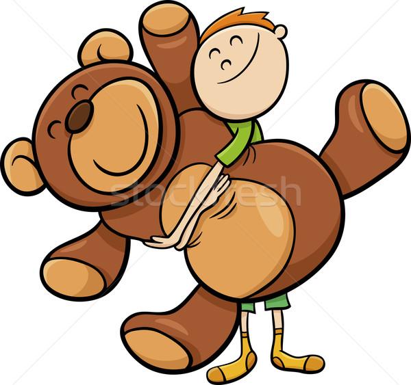 boy with big teddy cartoon Stock photo © izakowski