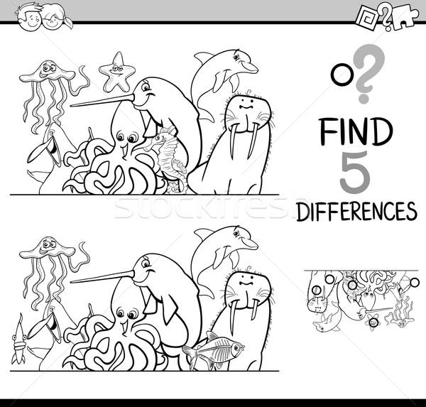 Diferenças atividade livro para colorir preto e branco desenho animado ilustração Foto stock © izakowski