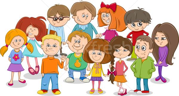 Сток-фото: школы · дети · группа · Cartoon · иллюстрация
