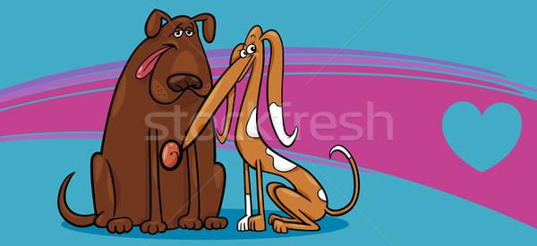 valentine card with dogs Stock photo © izakowski
