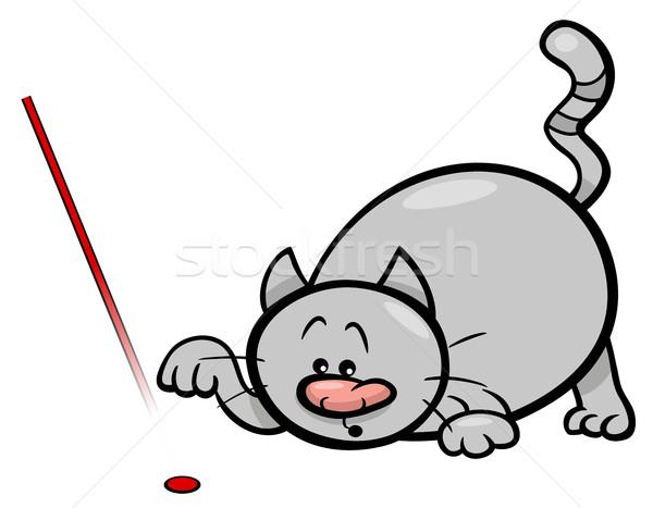 кошки играть лазерного Cartoon иллюстрация играет Сток-фото © izakowski