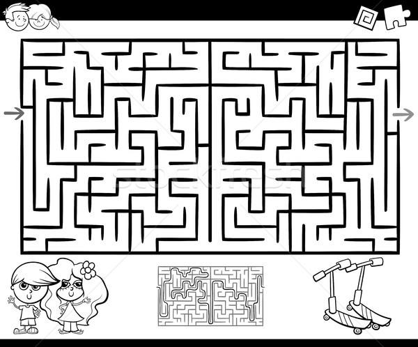 Labirinto labirinto attività cartoon illustrazione istruzione Foto d'archivio © izakowski