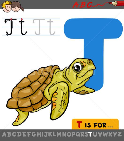 letter t with cartoon turtle animal Stock photo © izakowski