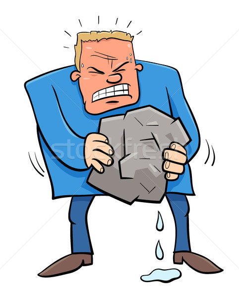 Stock photo: saying squeezing water from stone humor cartoon