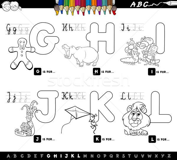 Сток-фото: образовательный · Cartoon · алфавит · дети · страница · черно · белые