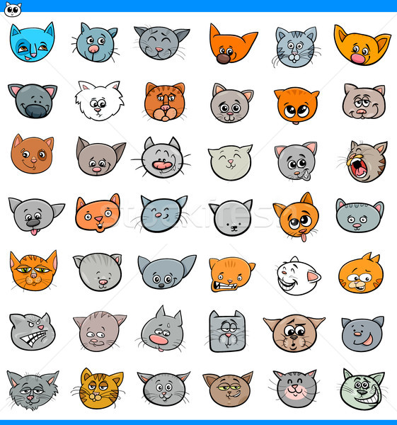 cartoon cats and kittens icons large set Stock photo © izakowski