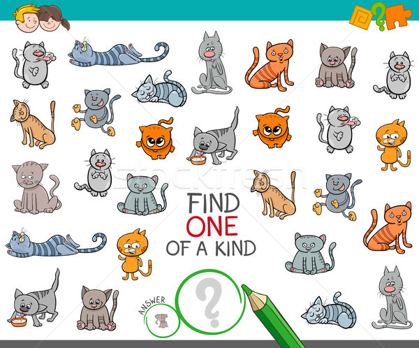 find one of a kind with cat animal character Stock photo © izakowski