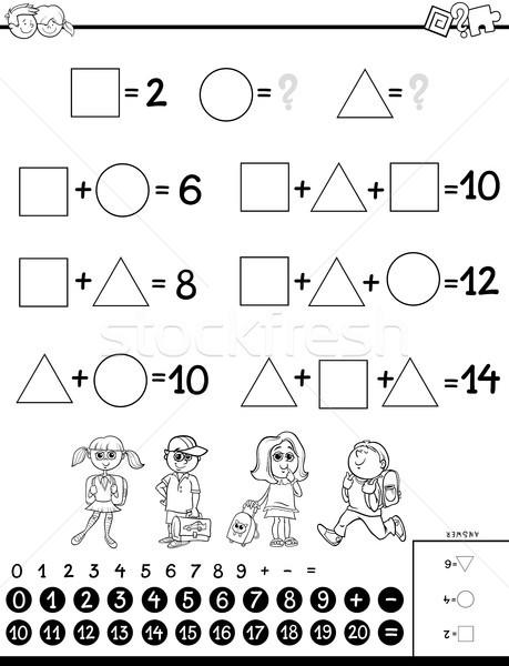 Photo stock: Calcul · jeu · livre · de · coloriage · blanc · noir · cartoon