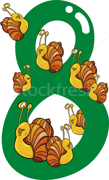 number eight and 8 snails Stock photo © izakowski