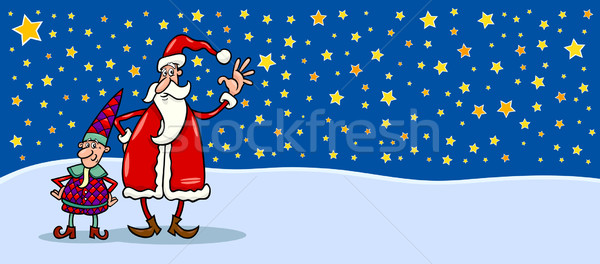 Santa and cristmas elf cartoon card Stock photo © izakowski