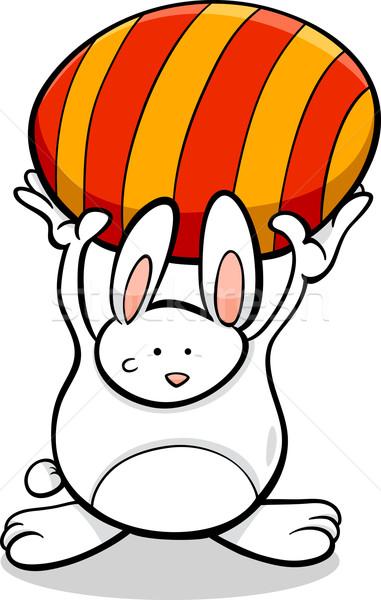 Lapin œuf de Pâques cartoon illustration cute lapin de Pâques Photo stock © izakowski