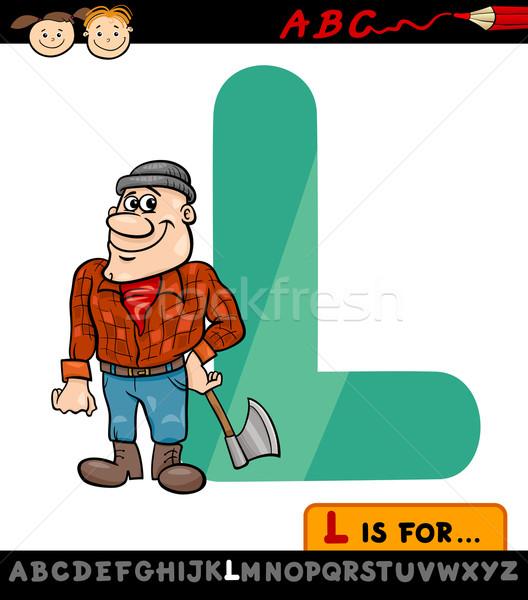 Letter l houthakker cartoon illustratie hoofdletter alfabet Stockfoto © izakowski
