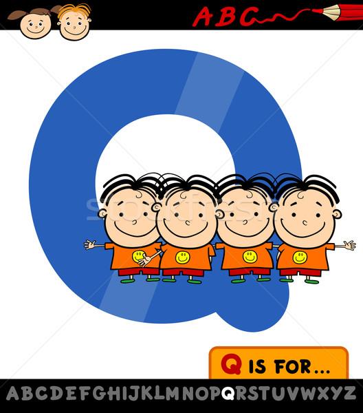 letter q with quadruplets illustration Stock photo © izakowski