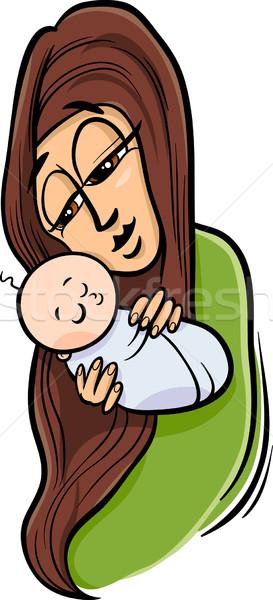 mother with baby cartoon illustration Stock photo © izakowski