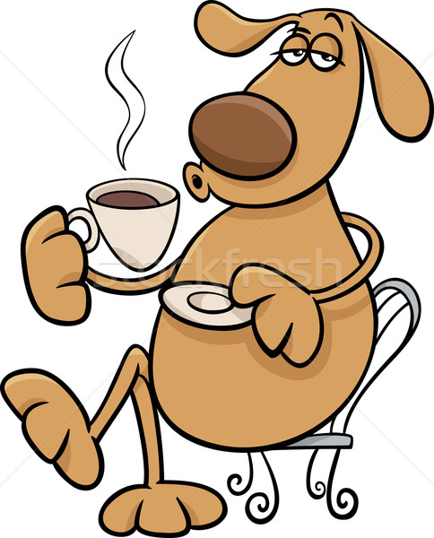 dog with coffeel cartoon illustration Stock photo © izakowski