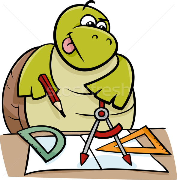 turtle with calipers cartoon illustration Stock photo © izakowski