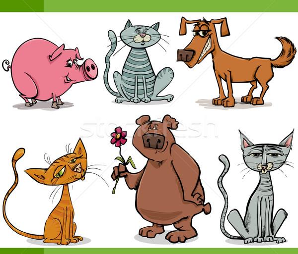 Animales boceto Cartoon establecer ilustración funny Foto stock © izakowski