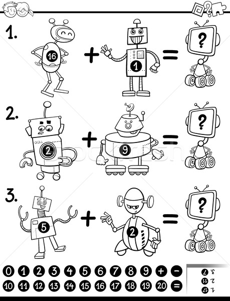 maths educational coloring page Stock photo © izakowski
