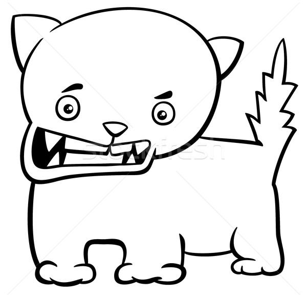 angry kitten coloring page Stock photo © izakowski