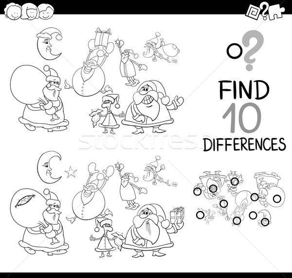 Natale differenze pagina bianco nero cartoon illustrazione Foto d'archivio © izakowski