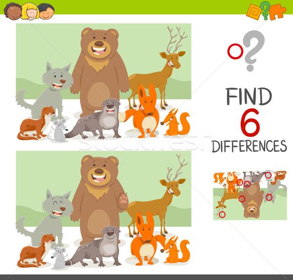 Differenze gioco animali cartoon illustrazione Foto d'archivio © izakowski