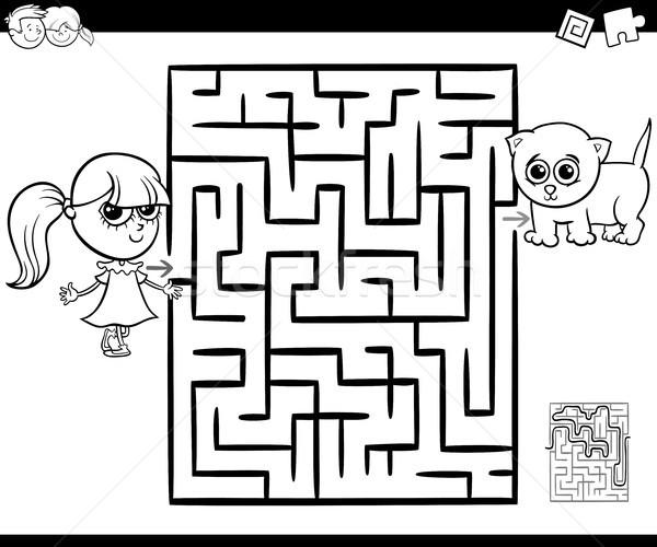 Labirintus lány macska rajz illusztráció oktatás Stock fotó © izakowski