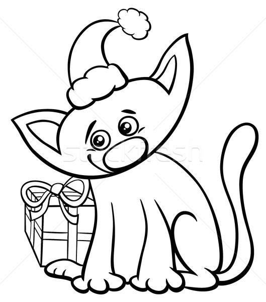 Kedi Noel Zaman Boyama Kitabı Siyah Beyaz Karikatür