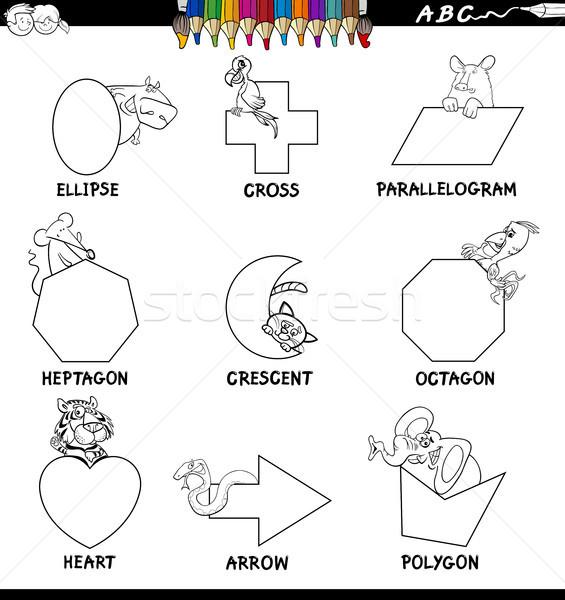 educational basic shapes set color book Stock photo © izakowski