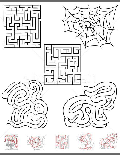 Labirinto tempo libero gioco grafica set soluzioni Foto d'archivio © izakowski