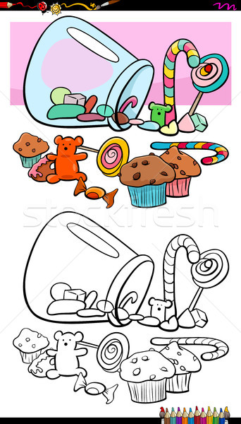 sweets and candies group coloring book Stock photo © izakowski