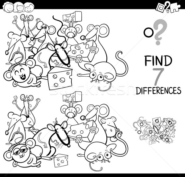 differences game with mice characters color book Stock photo © izakowski