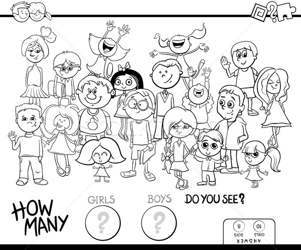 Kızlar Erkek Oyun Boyama Kitabı Siyah Beyaz Karikatür