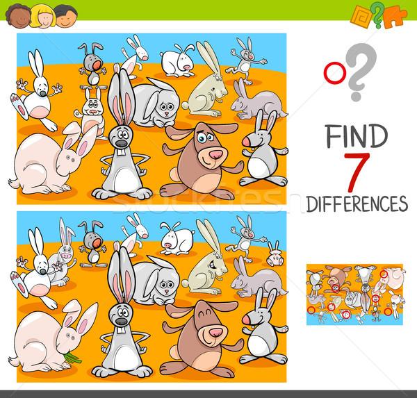 Encontrar diferenças coelhos animal desenho animado Foto stock © izakowski