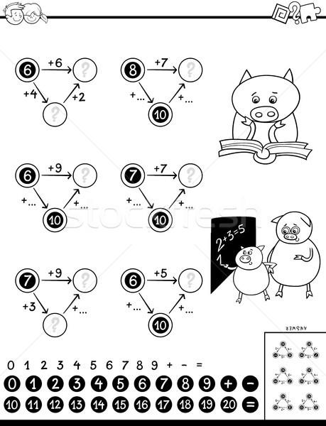 Oktatási játék gyerekek feketefehér rajz illusztráció Stock fotó © izakowski