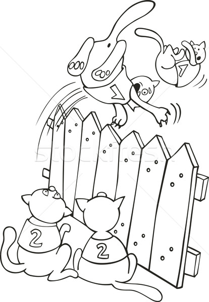 Cats jumping above the fence for coloring book Stock photo © izakowski