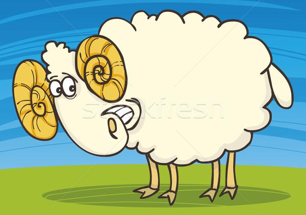 Feliz carnero Cartoon ilustración funny sonrisa Foto stock © izakowski