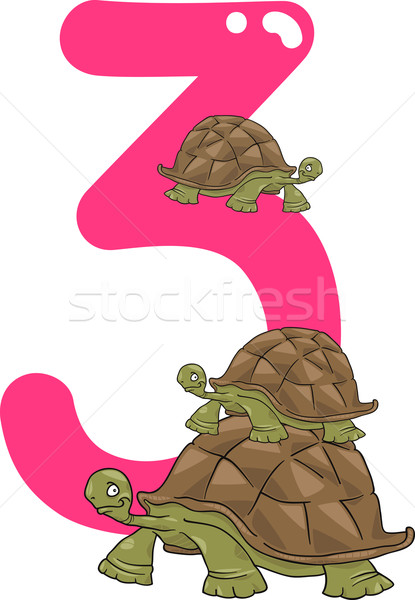 number three and 3 turtles Stock photo © izakowski