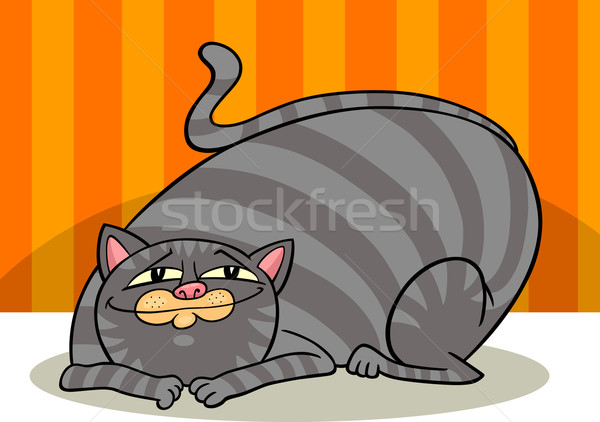 tabby fat cat cartoon Stock photo © izakowski