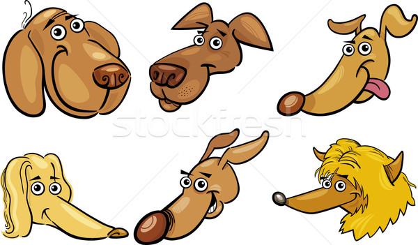 Foto d'archivio: Cartoon · divertente · cani · set · illustrazione · diverso