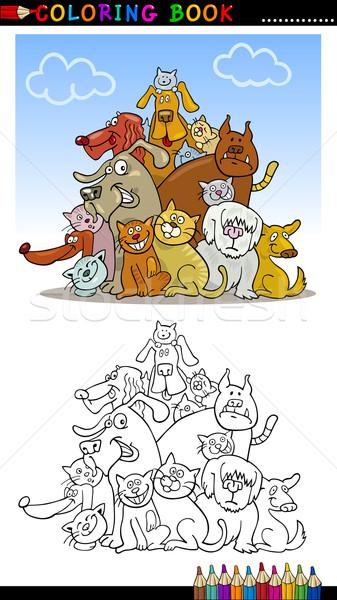 Desenho animado cães livro para colorir página ilustração engraçado Foto stock © izakowski