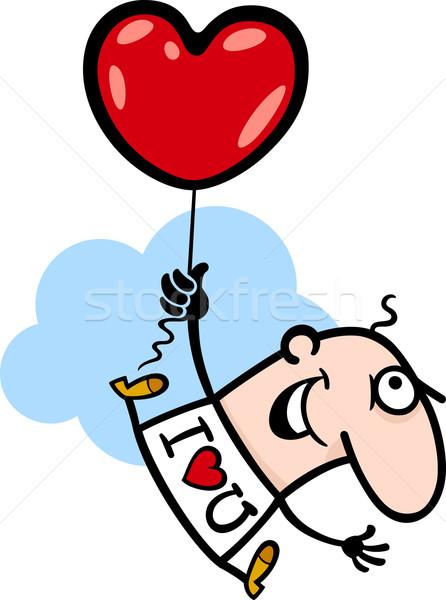man wit valentine hearth balloon cartoon Stock photo © izakowski