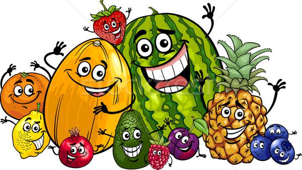 Drôle fruits groupe cartoon illustration alimentaire Photo stock © izakowski
