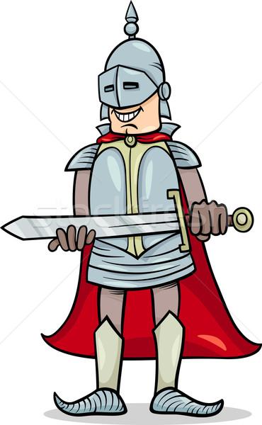 knight with sword cartoon illustration Stock photo © izakowski