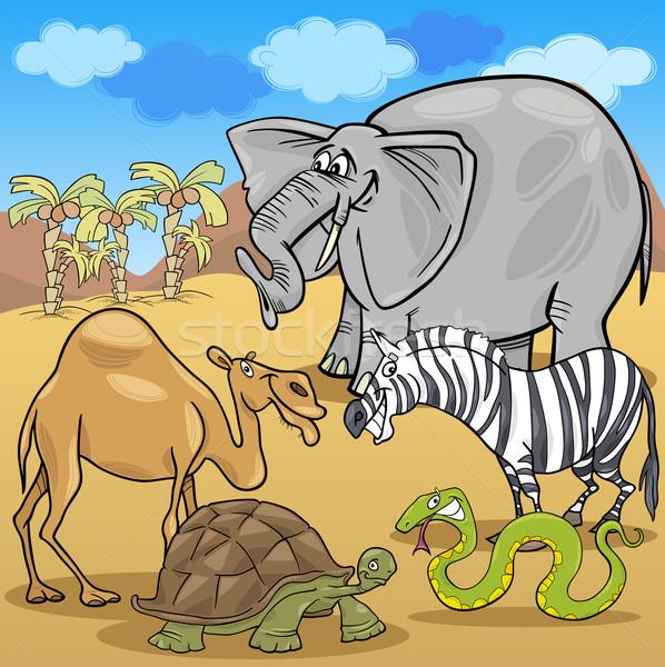 Afrikaanse safari dieren cartoon illustratie grappig safari Stockfoto © izakowski