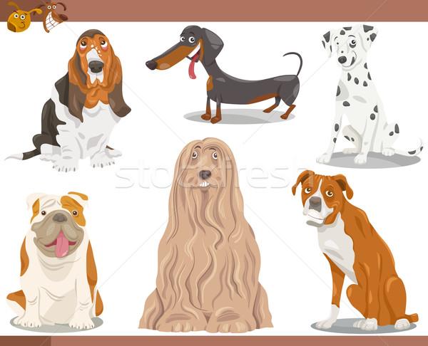 собака Cartoon иллюстрация набор смешные Сток-фото © izakowski