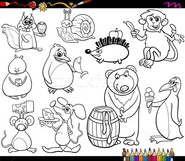 Animali alimentare pagina libro da colorare cartoon illustrazione Foto d'archivio © izakowski