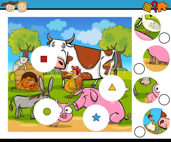 Foto stock: Combinar · peças · jogo · desenho · animado · ilustração